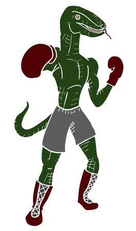 Boxing lizard draw