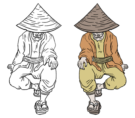 paiting: Old oriental man draw