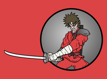 Samurai attack icon Vector