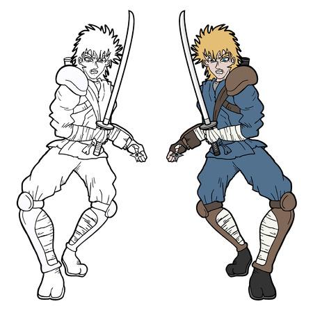 crouching: Samurai fighter