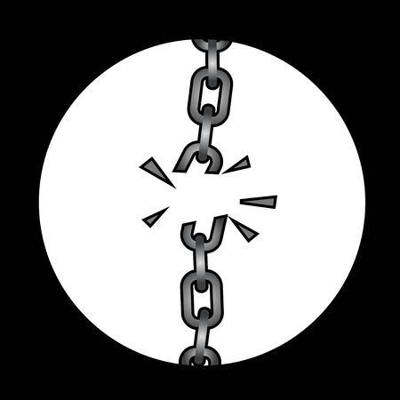 busted: Broken chain design Illustration