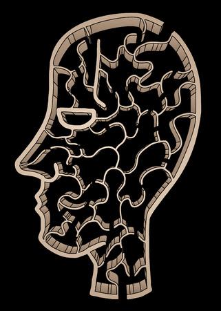 bustle: Imaginative head maze Illustration