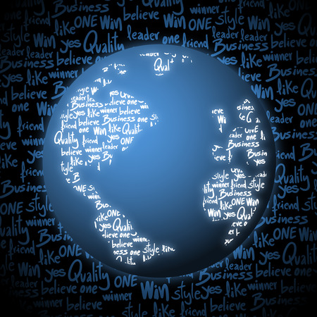 world class: Blue business world vector