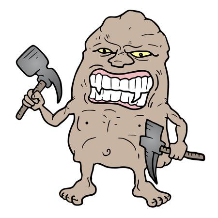 pitman: Hard monster Illustration
