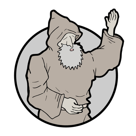 Hi monk draw Vector