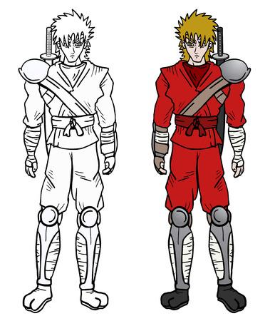 Samurai color draw Vector