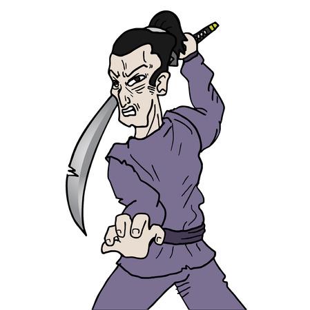 Samurai man Vector
