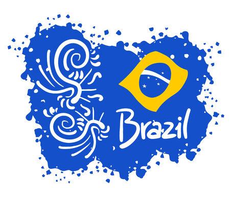 Brazil art emblem Vector