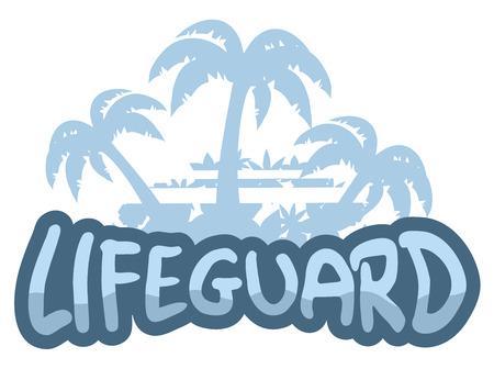 skin diving: Lifeguard beach symbol Illustration