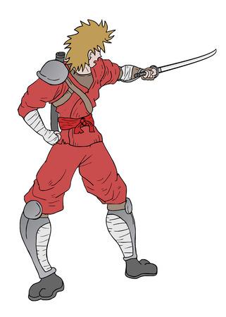 Ninja sword design Vector
