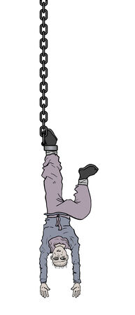 man hanging by chain scene draw Vector