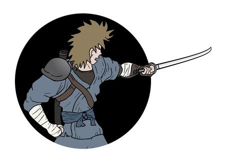 crouching: Samurai sword attack Illustration