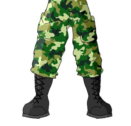 foot soldier: Soldier legs Illustration