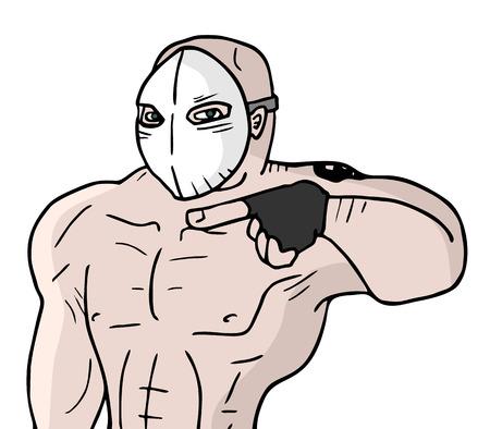 expressing negativity: Evil mask man