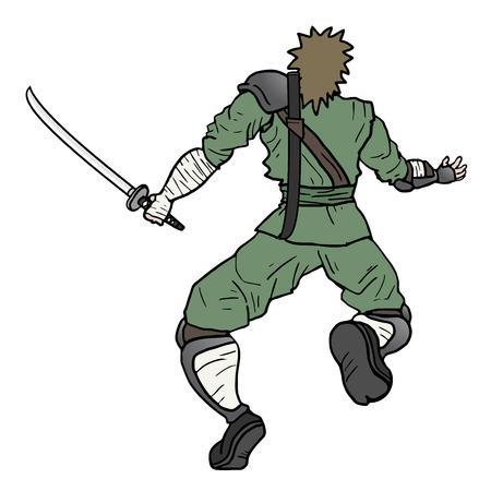 character assassination: Samurai attack man