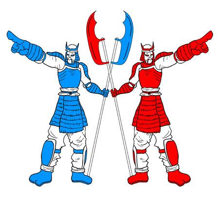 Two warriors Vector
