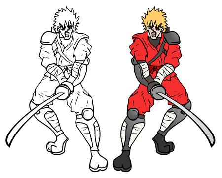 crouching: Sword attack Illustration