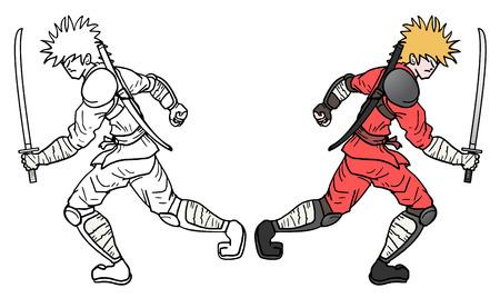 bullfighter: Motion samurai Illustration