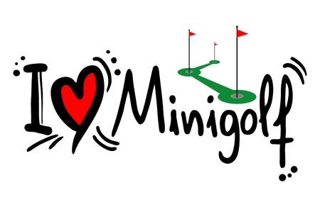 I love Minigolf word Illustration