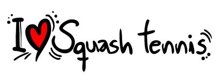 I love Squash tennis word Çizim