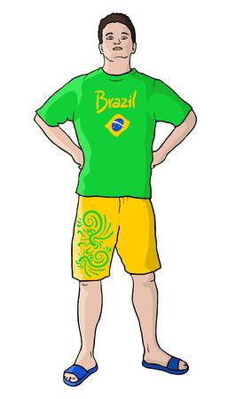 mixed race: Soccer brazil Illustration
