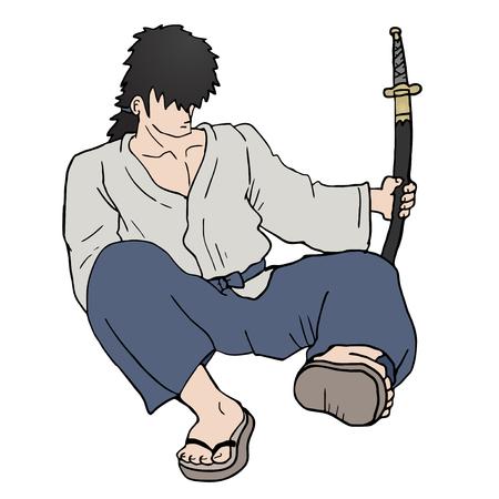 Sitting samurai Vector
