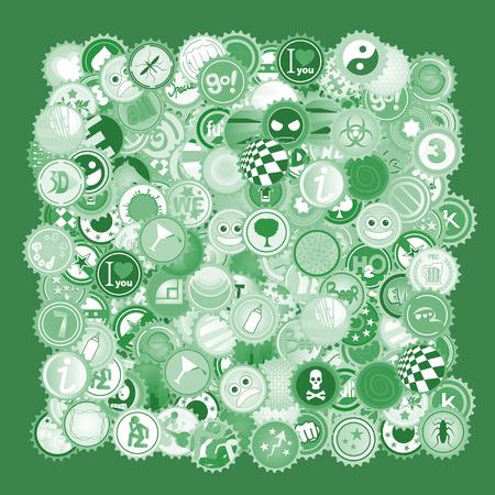 bock: Green caps Illustration