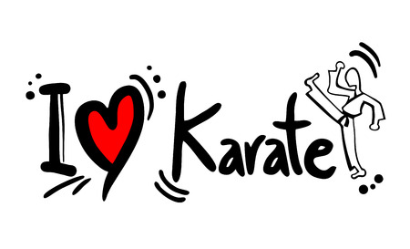martial arts woman: Karate love Illustration