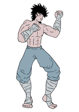 boxing tape: Fighter man Illustration
