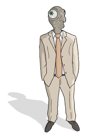 expressing positivity: Old man Illustration