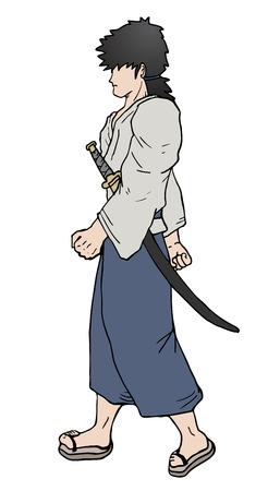 Walking samurai Vector
