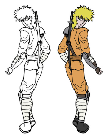 Samurai draw Vector