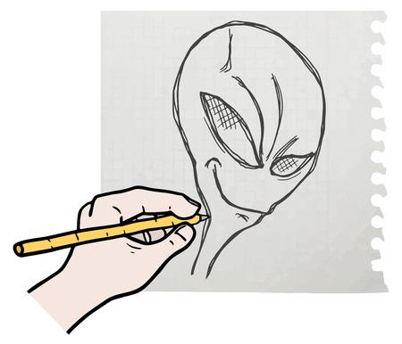 Alien draw Vector