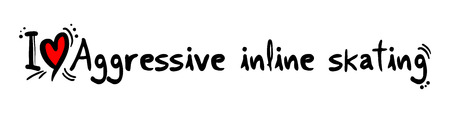 inline skating: Aggressive inline skating love Illustration