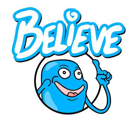 believe: Creer mensaje icono Vectores