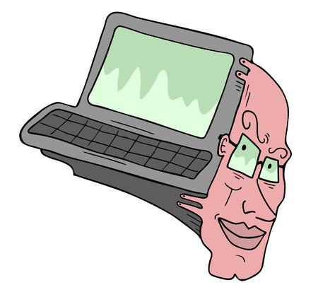 Imaginative human computer Vector