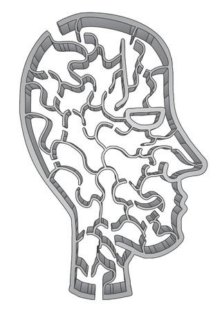 mental confusion: Creative maze face