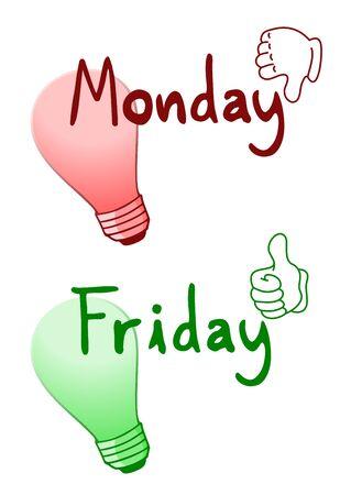 dislike: Dislike Monday and like Friday Illustration
