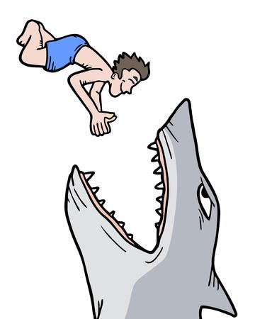 d�vorer: danger requin Illustration