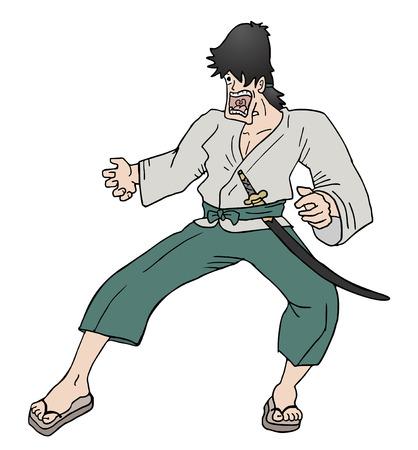 avenger: samurai divertido Vectores