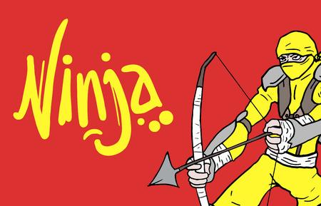 Color card ninja Vector