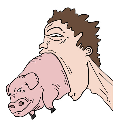 big mouth: Pig and big mouth Illustration