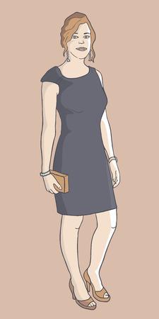 spring coat: Fashion girl vector Illustration