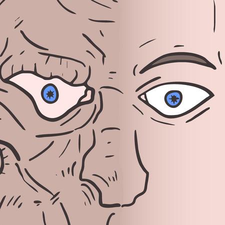 monster face: Monster face man Illustration