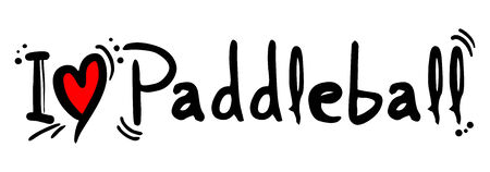 heading the ball: Paddle ball love word on white  Illustration