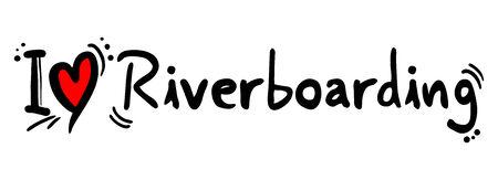covet: River boarding love word on white