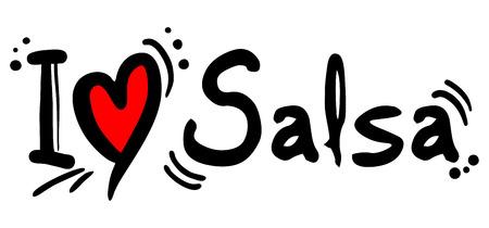 bailando salsa: Salsa palabra amor en blanco Vectores