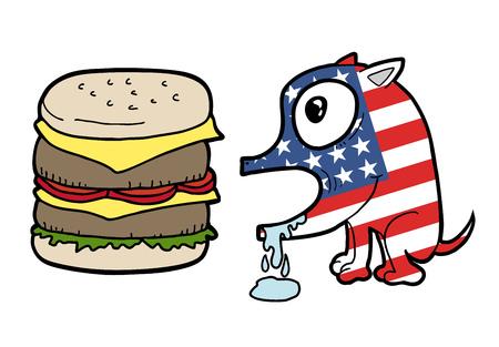 American flag dog with burger Illustration