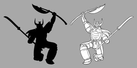 Old samurai Vector