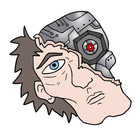 robot face: human robot face